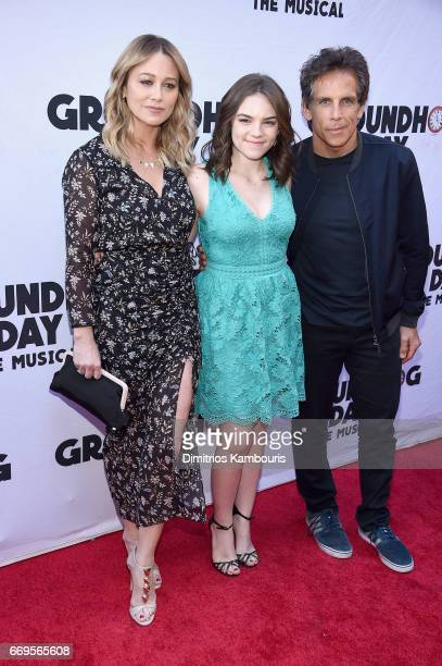 "Christine Taylor, Ella Olivia Stiller, and Ben Stiller attend the ""Groundhog Day"" Broadway Opening Night at August Wilson Theatre on April 17, 2017..."