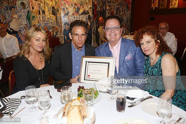 Christine Taylor, husband Ben Stiller, David Saint and Amy Stiller attend the 2016 Off Broadway Alliance Awards where Stiller's mother Anne Meara was...