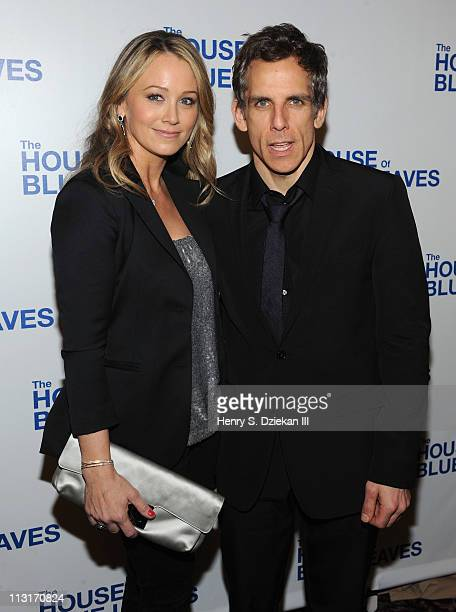 Christine Taylor Stiller and Ben Stiller attend the after party for the Broadway opening night of 'The House of Blue Leaves' at Sardi's on April 25...