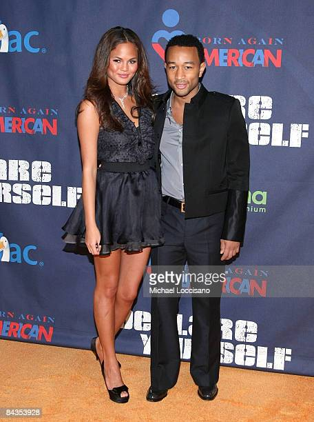 Christine Teigen and musician John Legend attend a preinauguration party hosted by Tropicana at Renaissance Washington Hotel on January 18 2009 in...