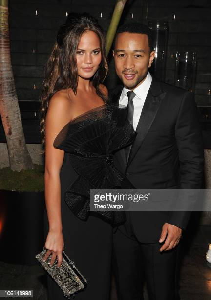 Christine Telgen and John legend attend the 2010 Whitney Gala and Studio Party at The Whitney Museum of American Art on October 26 2010 in New York...