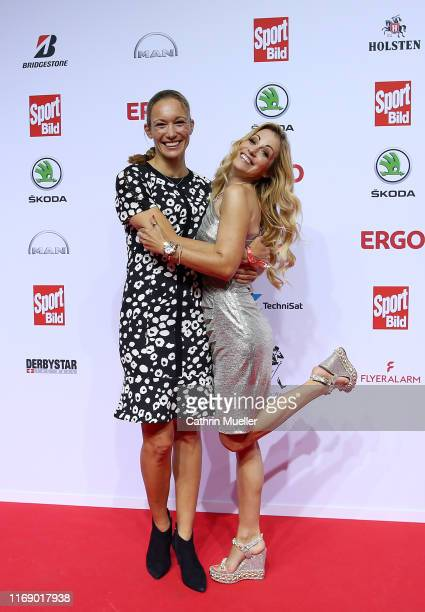 Christine Theiss and Presenter Andrea Kaiser attend the Sport Bild Award 2019 at the Fischauktionshalle on August 19, 2019 in Hamburg, Germany.