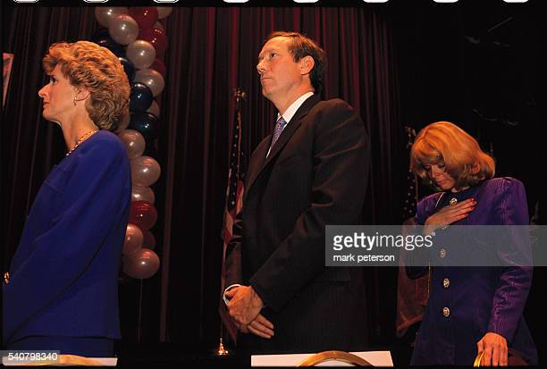 Christine Todd Whitman New York State Governor George Pataki and his Republican running mate Betsy McCaughey Ross stand solemnly during a fundraiser...