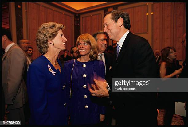 Christine Todd Whitman New York State Governor George Pataki and his Republican running mate Betsy McCaughey Ross talk during a fundraiser at the...