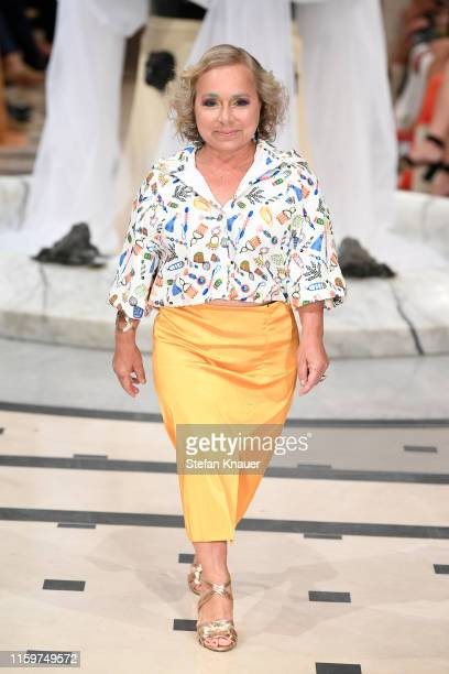 Christine Urspruch walks the runway at the Anja Gockel show during the Berlin Fashion Week Spring/Summer 2020 at Hotel Adlon on July 02, 2019 in...