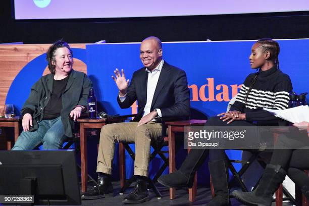 Christine Vachon Patrick Gaspard and Issa Rae speak onstage at the Power Of Story Panel Culture Shift during the 2018 Sundance Film Festival at...