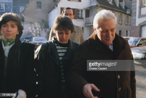 Christine Villemin and her lawyer HenriRené Garaud on their way to the courthouse in Saverne in the BasRhin department where Villemin will testify...