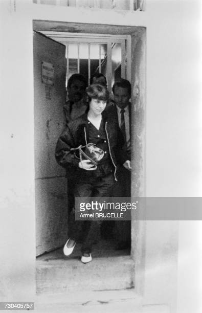 Christine Villemin mother of of murdered four yearold boy Grégory Villemin leaving the courthouse in Épinal after a hearing before Judge Lambert...