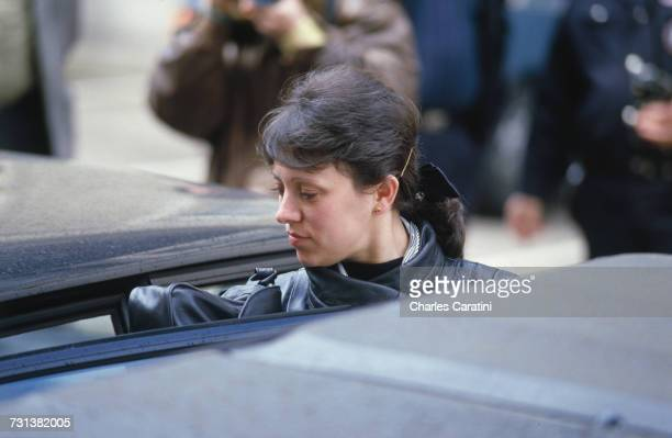 Christine Villemin outside the courthouse in Dijon France 23rd March 1988 She is testifying along with her husband JeanMarie before Judge Maurice...