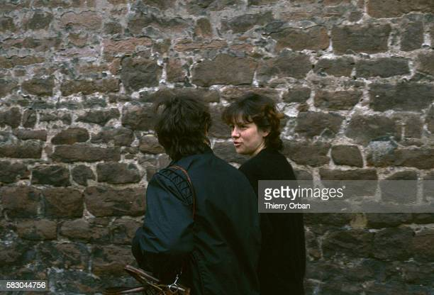 Christine Villemin visits her husband JeanMarie Villemin at the prison in Saverne France He was convicted for the murder of Bernard Laroche who was...
