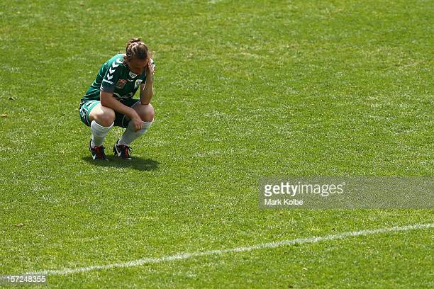 Christine Walters of United looks dejected after their defeat during the round seven W-League match between Sydney FC and Canberra United at...