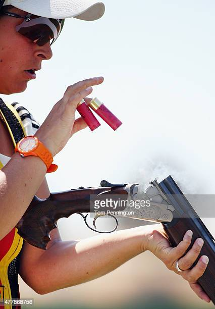 Christine Wenzel of Germany competes during the Women's Skeet shooting final during day eight of the Baku 2015 European Games at the Baku Shooting...