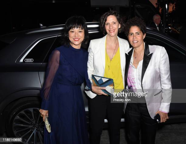 Christine Y Kim Jessica Rankin and Julie Mehretu attend the 2019 LACMA Art Film Gala Presented By Gucci at LACMA on November 02 2019 in Los Angeles...