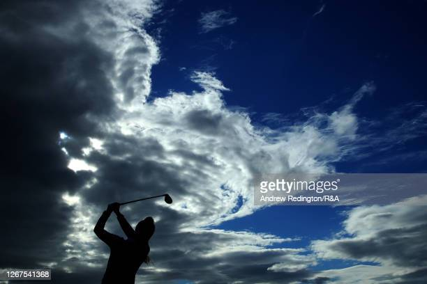 ChristineWolf of Austria plays her shot off the 16th tee during Day Two of the AIG Women's Open 2020 at Royal Troon on August 21 2020 in Troon...