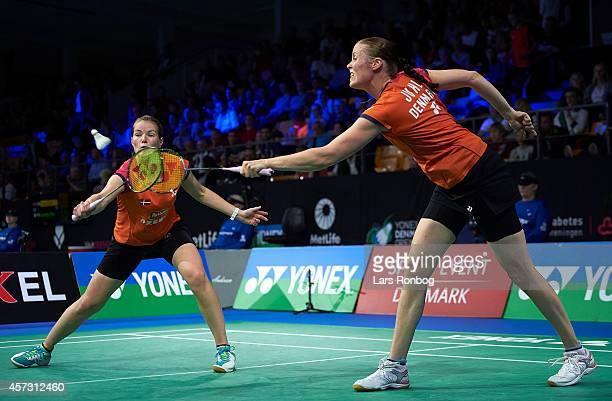 Christinna Pedersen and Kamilla Rytter Juhl of Denmark in action during the Yonex Denmark Open MetLife BWF World Superseries at Odense Idratspark on...