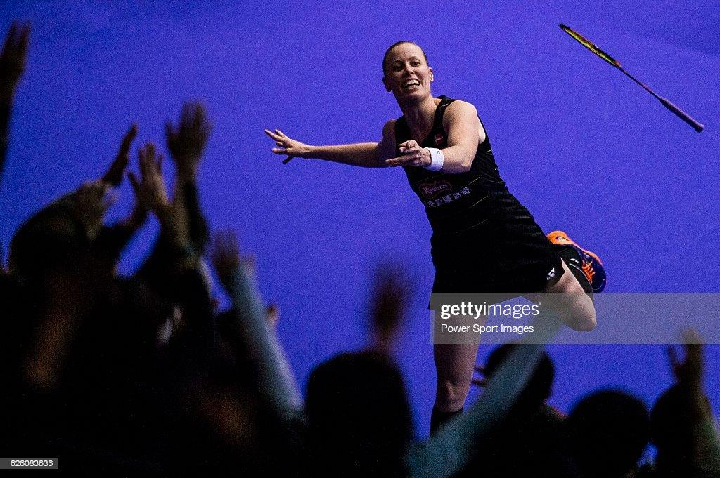 Christinna Pedersen of Denmark throws her racket for fans after winning Huang Dongping and Li Yinhui of China on their Women's Doubles Final of YONEX-SUNRISE Hong Kong Open Badminton Championships 2016 at the Hong Kong Coliseum on 27 November 2016 in Hong Kong, Hong Kong.