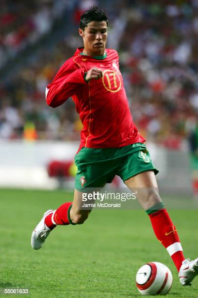 Christino Ronaldo of Portugal during the World Cup Group 3 qualification match between Portugal and Slovakia at the Estadio da Luz on June 4 2005 in...