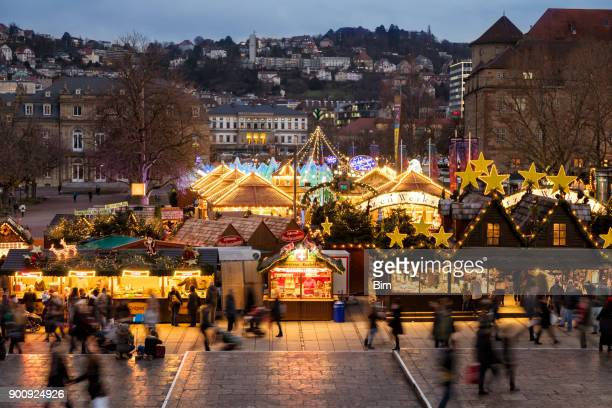 christkindlmarket in stuttgart at dusk, germany - stuttgart stock pictures, royalty-free photos & images