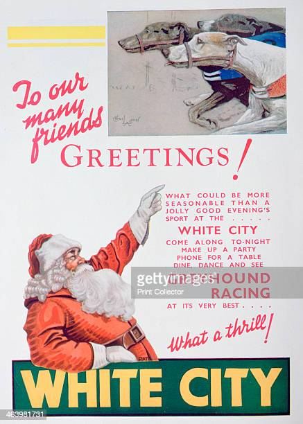 Christmas advert for the White City greyhound track London 1932 A print from The Sketch Christmas number 1932