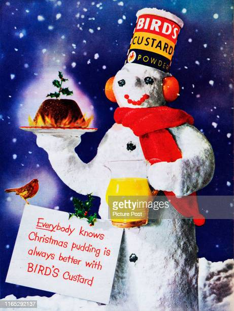 Christmas advertisement for Bird's Custard Powder with the caption 'Everybody knows Christmas pudding is better with Bird's Custard' Original...