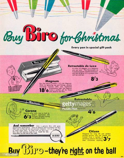Christmas advertisement for Biro ballpoint penswith the caption 'Buy Biro - they're right on the ball'. Original Publication: Picture Post Ad - Vol...