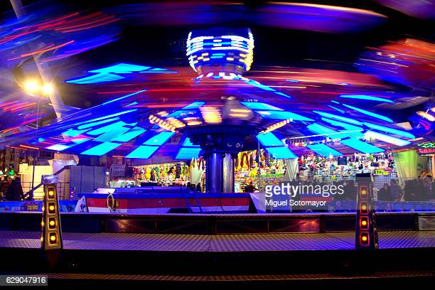 christmas amusement park - valencia spain stock pictures, royalty-free photos & images