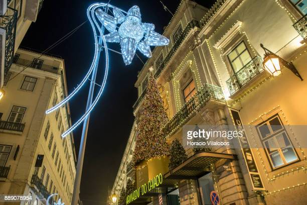 Christmas and New Year light displays in Armazens do Chiado and Rua Nova do Almada on December 9 2017 in Lisbon Portugal The city shows a variety of...