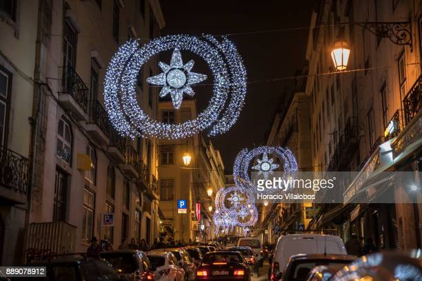 Christmas and New Year light displays in Rua Nova do Almada on December 9 2017 in Lisbon Portugal The city shows a variety of light decorations in...