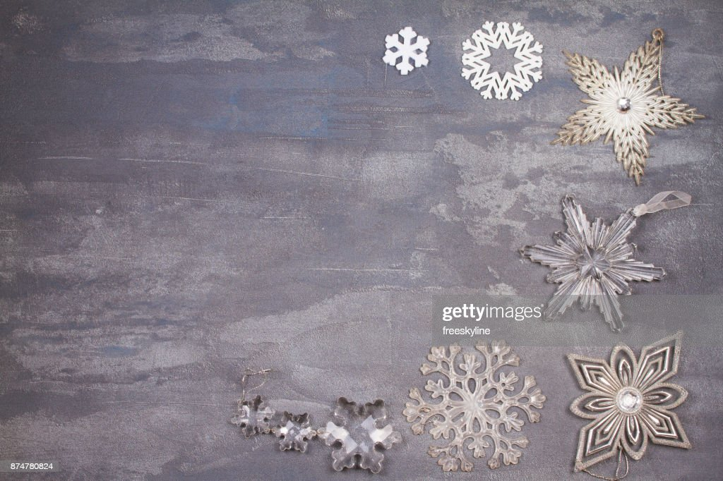 christmas and new year snowflakes border or frame on gray background winter holidays concept