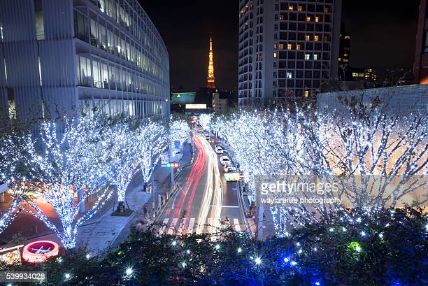 christmas and winter illumination, tokyo japan - roppongi hills stock pictures, royalty-free photos & images