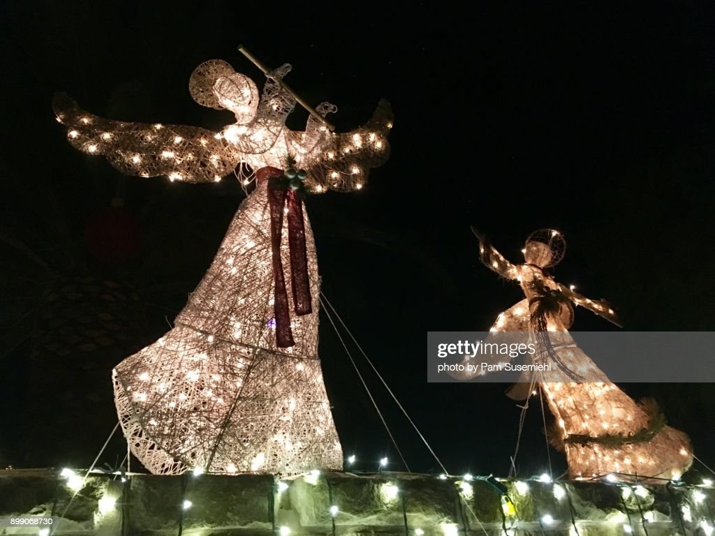 christmas angel yard decorations stock photo