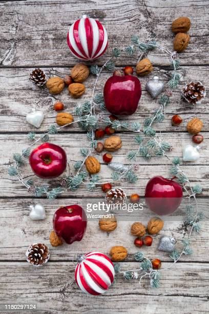 christmas apples, walnuts, hazelnuts and christmas decoration on wood - twig stock pictures, royalty-free photos & images
