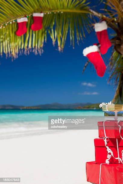 christmas at a caribbean beach - beach christmas stock pictures, royalty-free photos & images