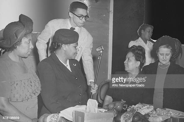 Christmas at Freedmen's Annex, Washington DC, December 25, 1949. Pictured are, Miss Rosa Harrison, Mrs Hattie Maser, Mrs Mildred L Barnes, Mrs Ruth...