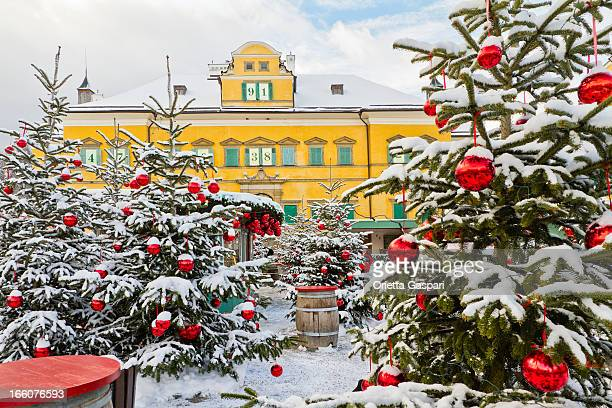 christmas at hellbrunn palace - salzburg stock pictures, royalty-free photos & images
