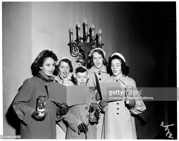Christmas at Immaculate Heart 3 December 1953 Katrina ElhardtMargaret ClintonKay RobinsonPatricia BarlowJoan Gallery Caption slip reads 'Photographer...
