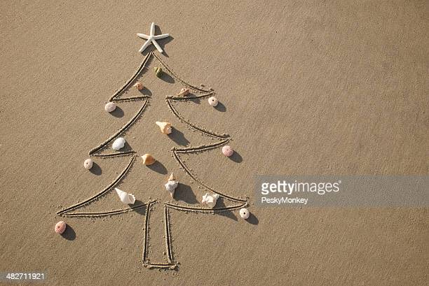 Christmas at the Beach Tree Decorated with Sea Shells