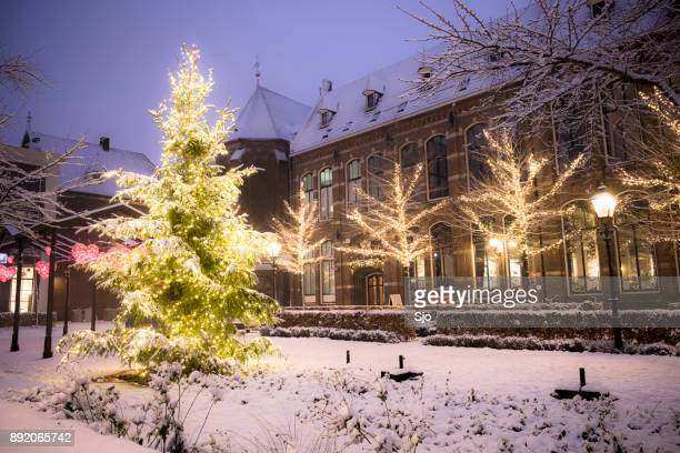 christmas at the nieuwe markt in zwolle with snow, lights and a christmast tree - zwolle stock photos and pictures