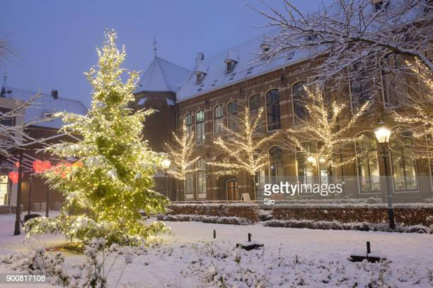 christmas at the nieuwe markt in zwolle with snow, lights and a christmas tree - zwolle stock photos and pictures