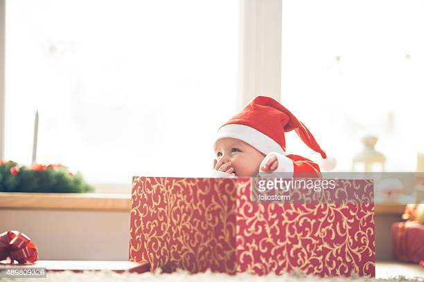 Christmas baby in a gift box
