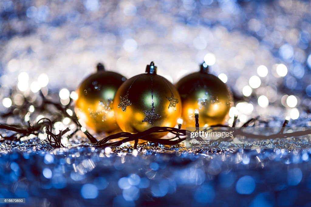 Christmas background decoration with bokeh lights : Stock Photo