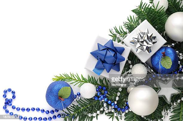 Christmas background in blue,white and green