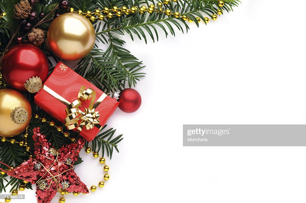 Christmas background in red, gold and green : Stock Photo