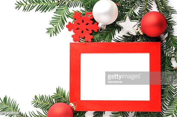 Christmas background with a white frame