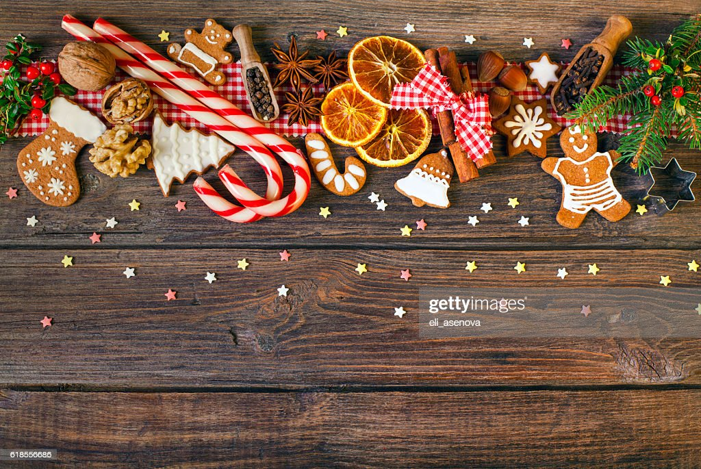 Christmas background with Christmas cookies, decoration and spices : Stock Photo