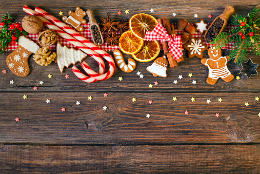Christmas background with Christmas cookies, decoration and spices - gettyimageskorea