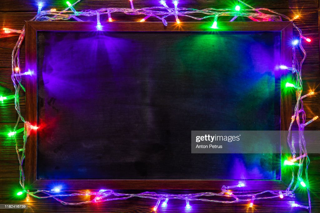Christmas background with Christmas decorations and garland. : Stock Photo