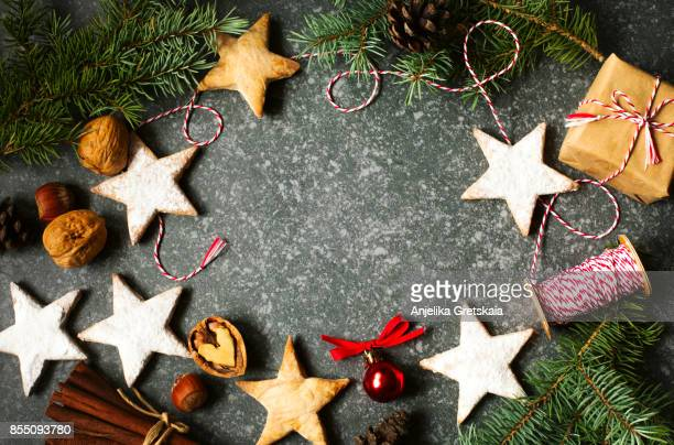 Christmas background with decorations, fir branches and gift box