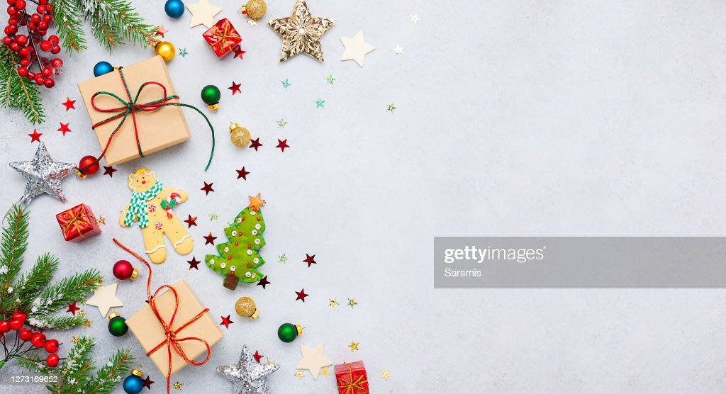 Christmas background with gift boxes, festive decor, fir tree branches : Stock Photo