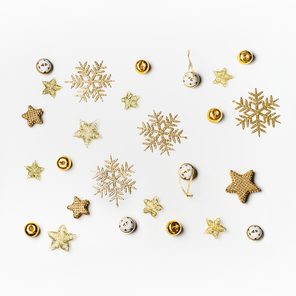 Christmas background with gold snowflakes on white - gettyimageskorea